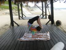 This was me doing yoga this summer on vacation, but I love doing yoga anywhere I go! (submitted by Paulina Rapavi)