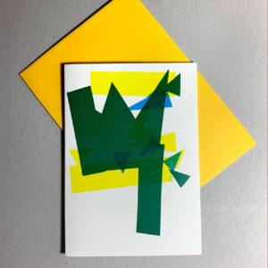 grafischer Baum, Klappkarte, farbige Flächen, gelbes Kuvert