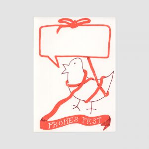 Siebdruck Postkarte, Senor Burns, schleife, Vogel, Frohes Fest,