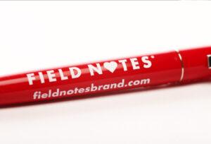 Field Notes, Kugelschreiber, rot, Aufdruck, weiß,