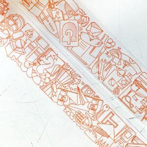 umwerk Klebeband, orange auf weiß, Illustration,