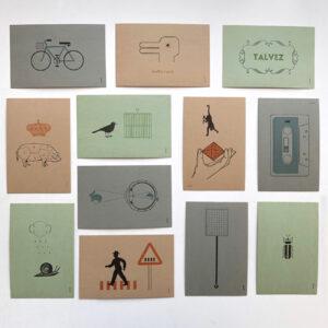 Serrote Postkarten-Set, 12 Karten, Objekte im Buchdruck,