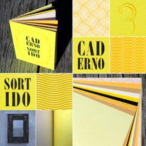 Serrote Notebook, Gelbtöne, gemusterte Seiten, Buchdruck,