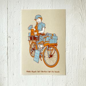 9 LIVES DESIGN - Postkarte MOBILE BICYCLE CAFÉ, illustriert,