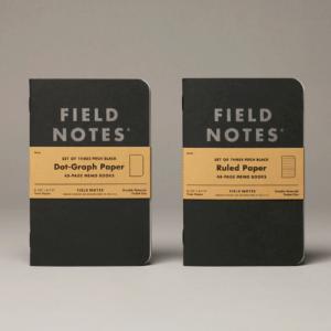 Field Notes, Pitch Black, Notizhefte, 3er-Pack, schwarz,