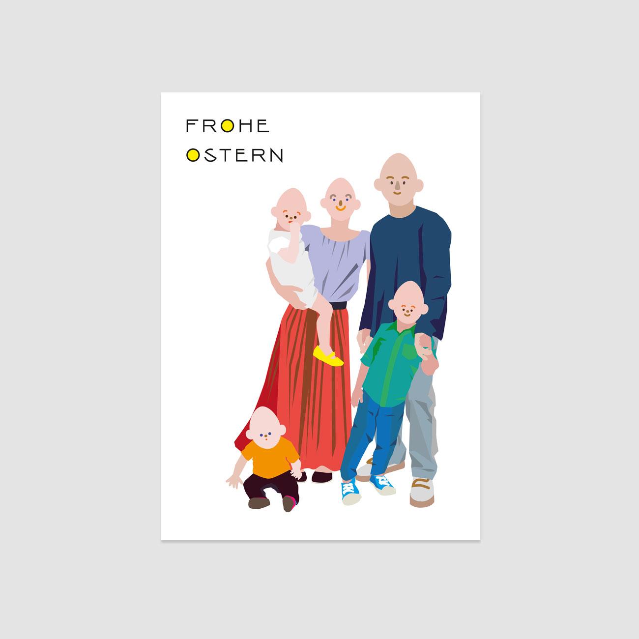 Frohe Ostern Postkarte, illustrierte Familie mit Eierköpfen, bunt,