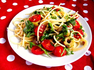 spaghettis à la sardine et roquette