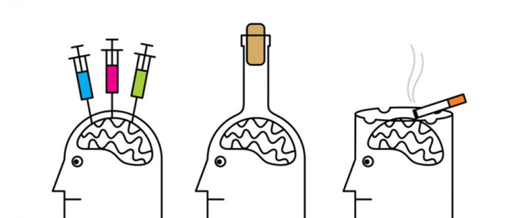 addict brains cartoon. Bottle for a head, head with needles in it and head with built in ashtray