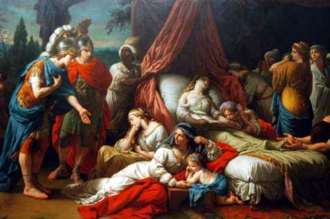 The Death of the Wife of Darius by Louis Lagrenée (wikimedia.org) Black male servant