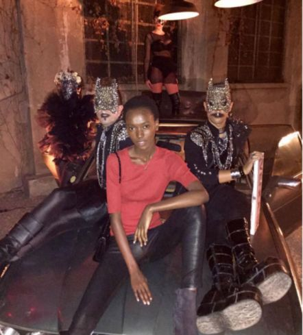 Herieth Paul strikes a pose at Givenchy.