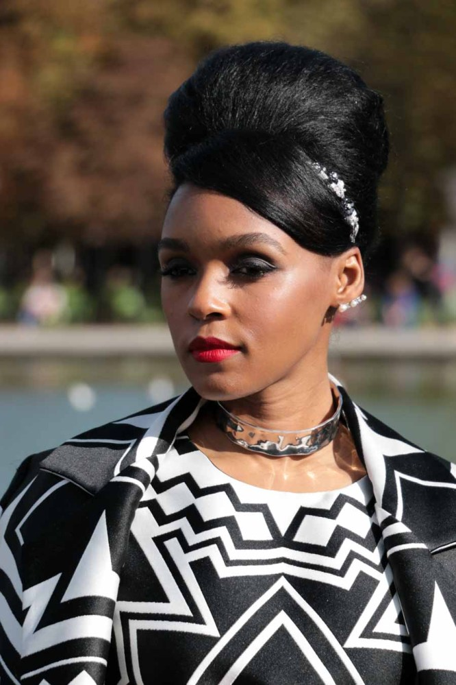 Janelle Monae outside Valentino in Paris