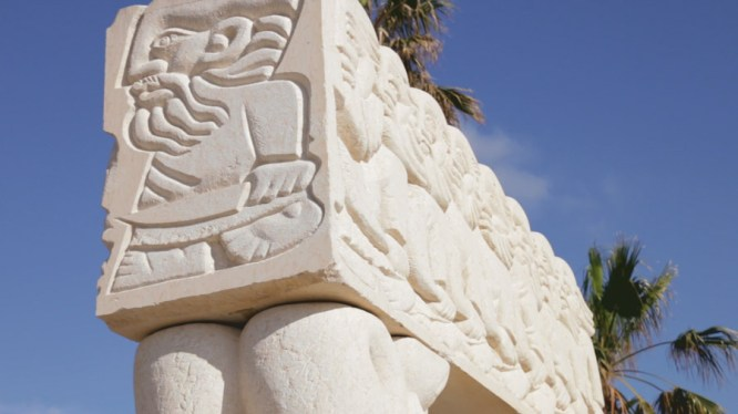 In the 'Old City,' Jaffa, now a part of Tel Aviv, one can catch beautiful views of the Tel Avian coast line and visit this beautiful monument, the Statue of Faith in Abrasha Park.