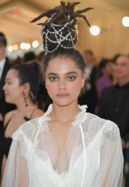 Sasha Lane upgraded her look with a bejeweled bun.