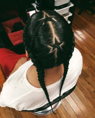 Two cornrows with star braids in center