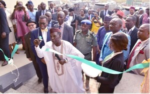 Honourable Minister of Agriculture, Alhaji Mohammed Nanono commissioning the male hostel.