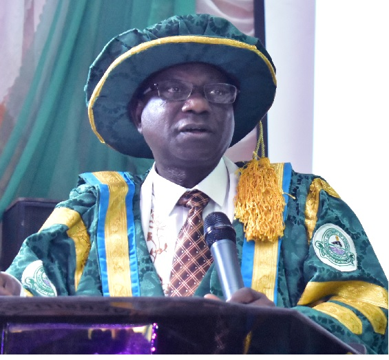 Pro-Chancellor and Chairman, Governing Council, Barr. Aboki Zhawa, addressing graduands and guests at the 27th Convocation Ceremony
