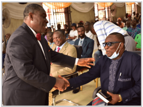 Deputy Vice-Chancellor (Development), Prof. Clement Adeofun (Right), exchanging pleasantries with the Chaplain, Chapel of Grace, Prof. Christian Ikeobi.