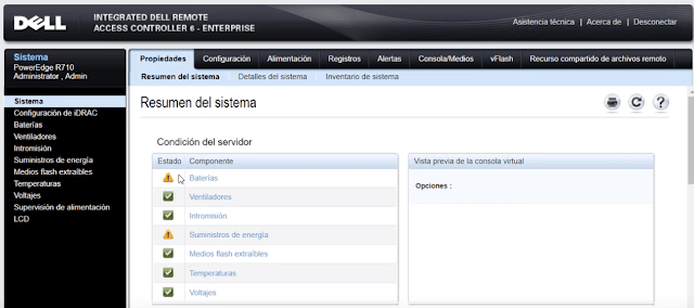 iDRAC ofrece al administrador un panel intuitivo para supervisar el sistema