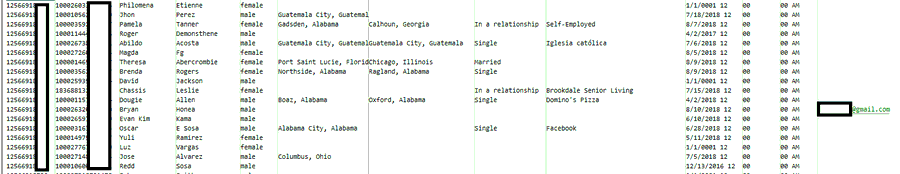 Captura de la filtración de datos en Twitter.