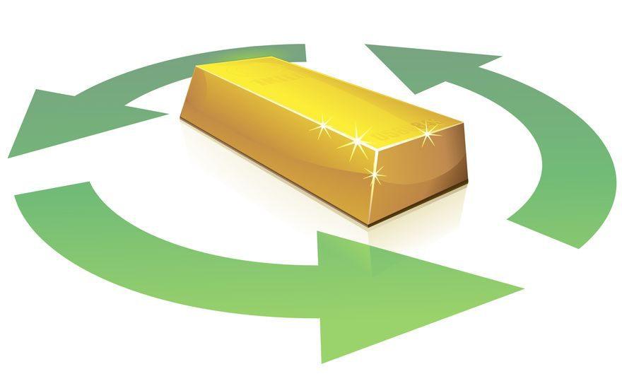 Recyclage de l'or (reflet)