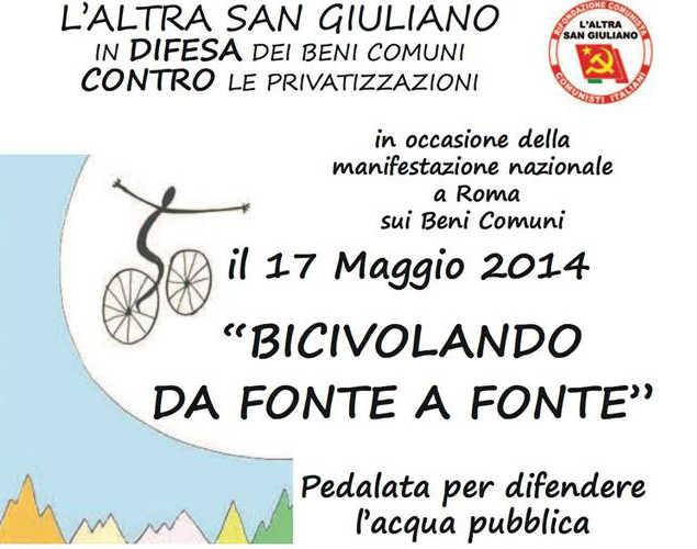 """Il 17 maggio """"L'altra San Giuliano"""" organizza una pedalata per difendere l'acqua"""