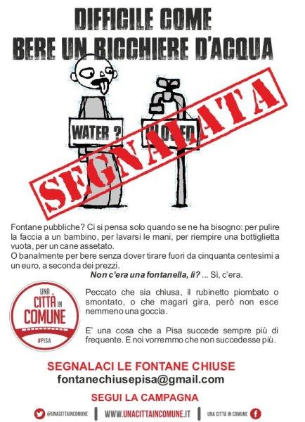 Fontane chiuse a Pisa: segnalate.