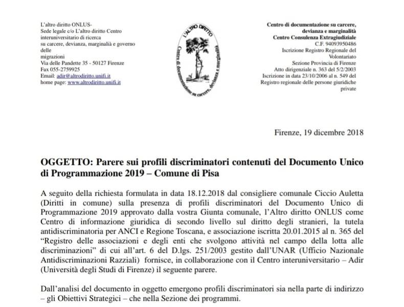 A Pisa un nuovo caso Lodi. Pesanti profili discriminatori nel Documento Unico di Programmazione.