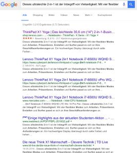 Produktbeschreibungen - duplicate content in den Suchergebnissen der Google-Suche