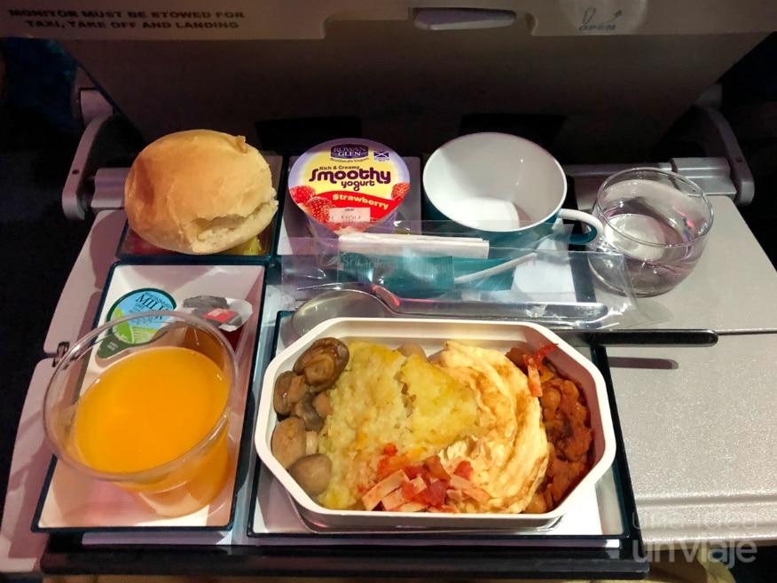 Avión SriLankan Airlines - comida a bordo
