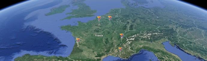 Vue spatiale de la France et Europe pour visualiser les centres UNÂM