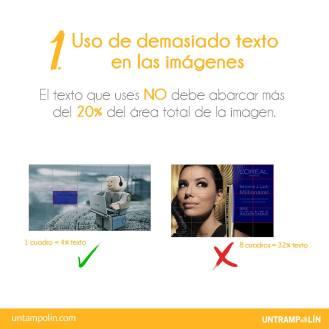 Una imagen no debe llevar más del 20% de texto.