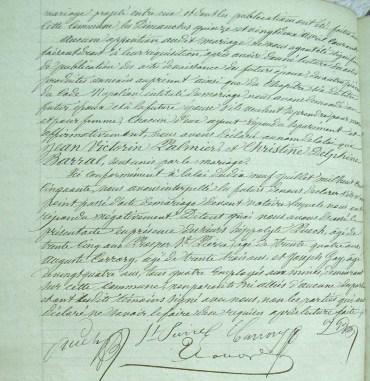 Acte de mariage de Jean Victorin Palmier et Christine Delphine Barral, AM La Grand'Combe, NMD, Mariages E13 (1863-1867), vue 326/466