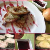 Scaloppine di lonza di maiale con salsa alla melagrana
