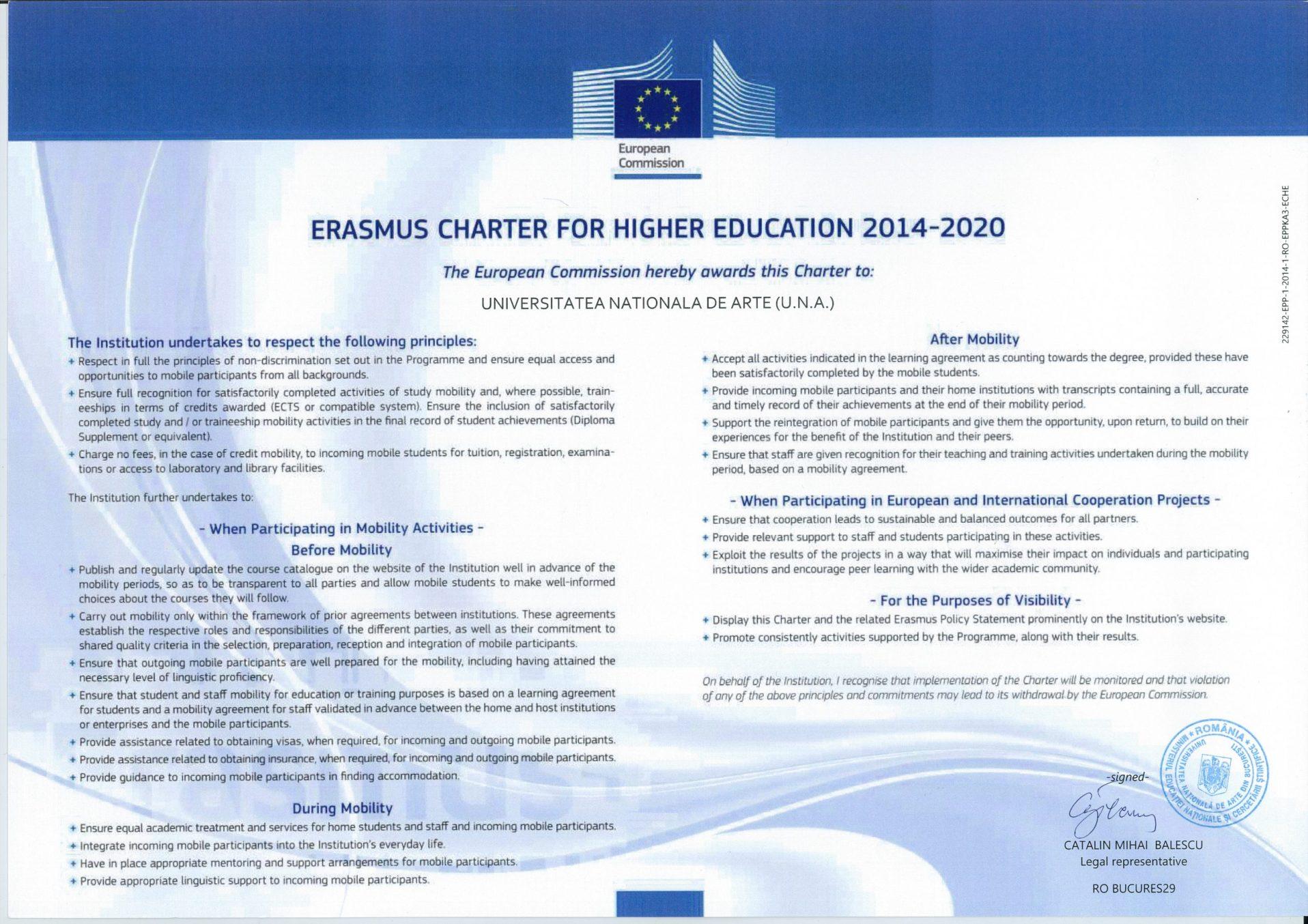 Carta Erasmus semnată