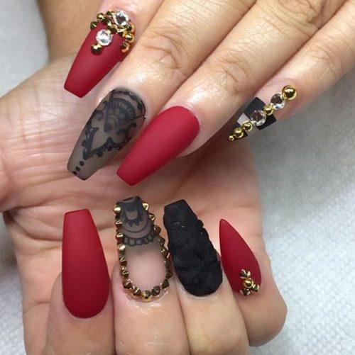 Diseños De Uñas Acrilicas Negras Con Piedras Decoración De