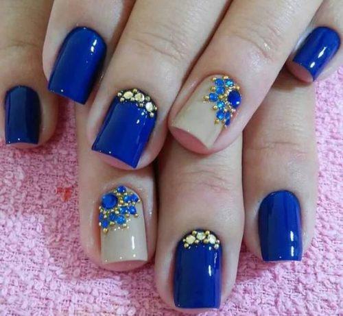 Uñas Decoradas Azules Con Piedras Uñas Francesas Decoradas