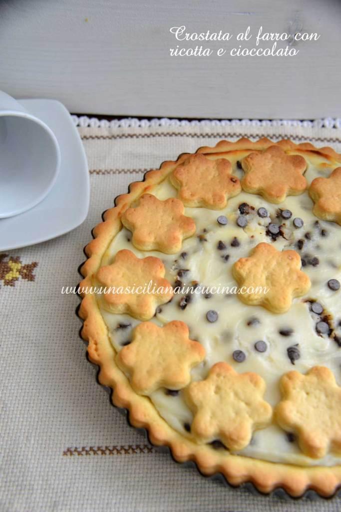 Crostata al farro ricotta e cioccolato senza zucchero