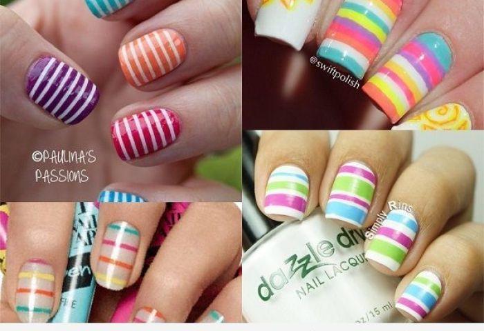 Uñas De Rayas De Colores Diseños Vivos Perfectos Para El Verano