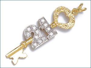 A Gold Key WIth 21 written on it in diamonds