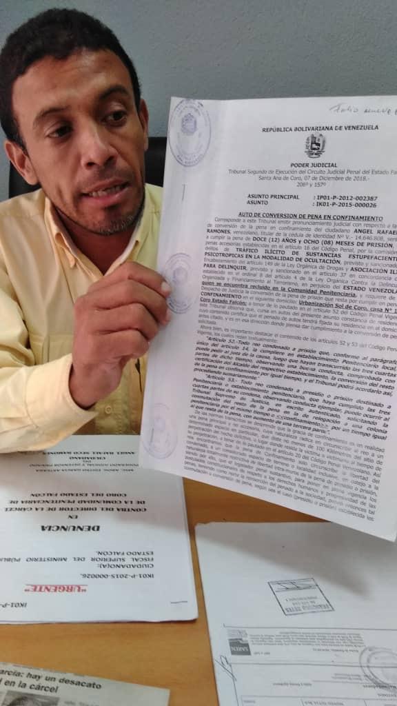 Falcón: Reo tiene boleta de excarcelación desde diciembre y continúa confinado