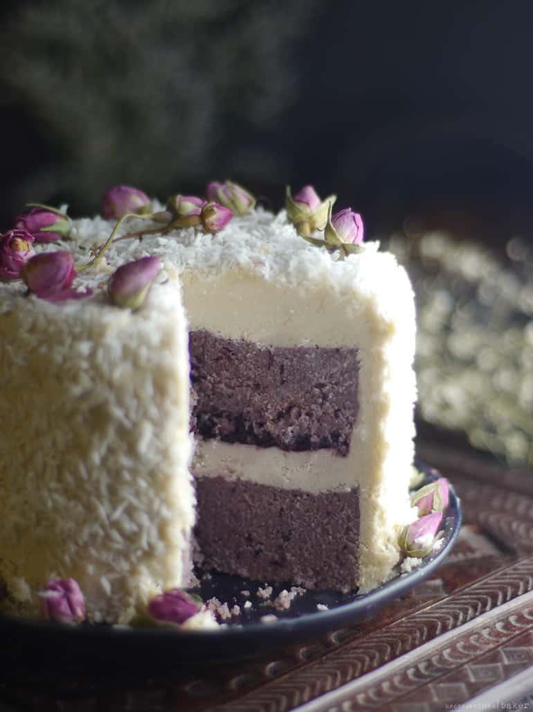 Blackberry Coconut Layer Cake No Bake Recipe