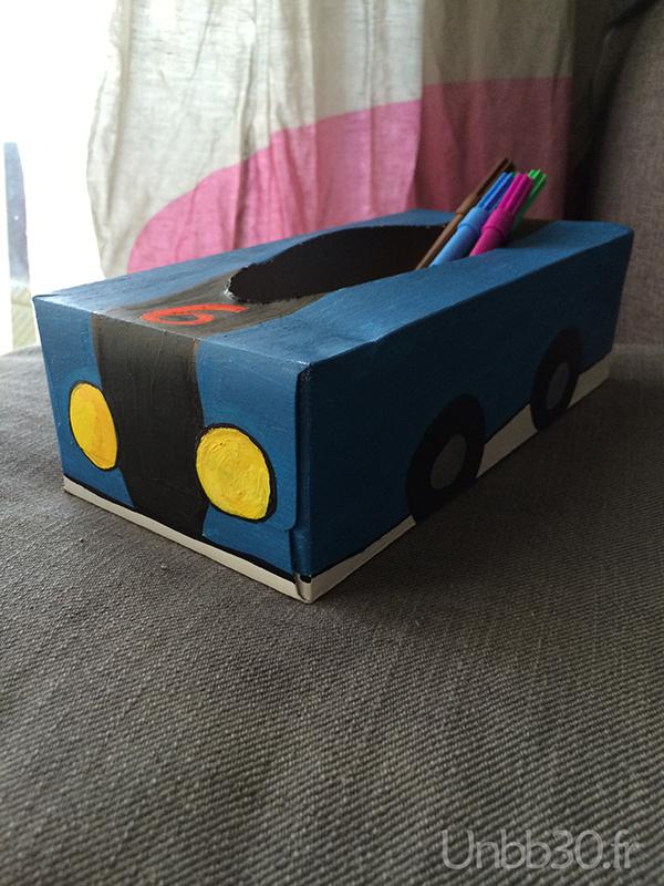 DIY boite à crayon voiture boite à mouchoir