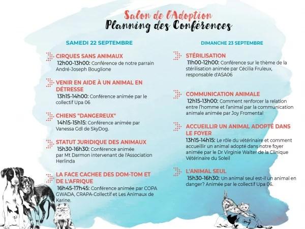 Planning des Conférences du salon de l'adoption