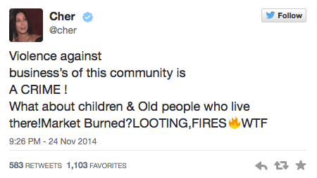 Cher Tweets about Ferguson