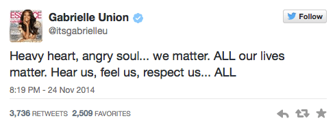 Gabrielle Union Tweets about Ferguson