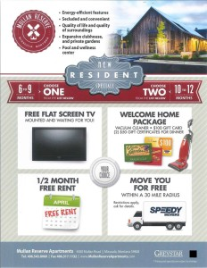 Apartment specials and incentives