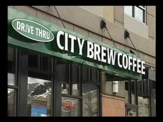 View from the outside of the City Brew Coffee downtown Missoula location