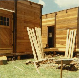 Tony Angland building the cabin
