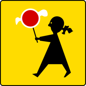 Road sign of school ahead