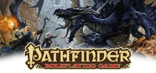 A piece of promotional art that shows a wizard and rogue attacking a blue dragon with the Pathfinder Roleplaying Game logo centered at the bottom.